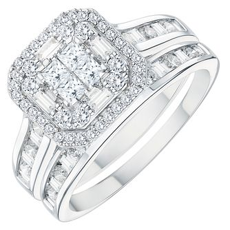 18ct White Gold 1ct Diamond Double Halo Bridal Set - Product number 3573087