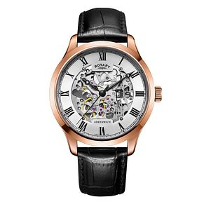 Rotary men's rose gold-plated skeleton strap watch - Product number 3573648
