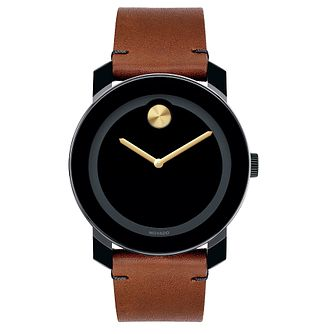 Movado Bold men's ion-plated TR90 brown leather strap watch - Product number 3573761