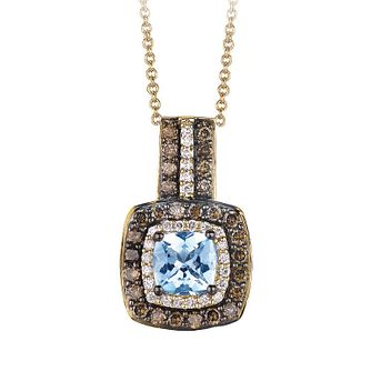 Le Vian 14ct Honey Gold diamond & Aquamarine pendant - Product number 3573850