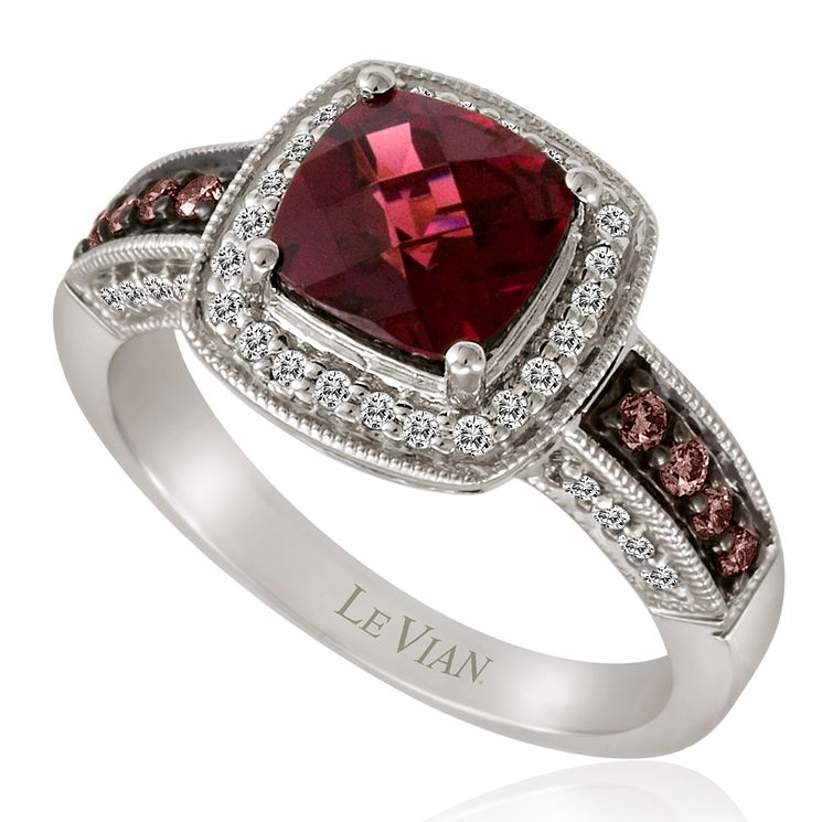 Le Vian 14ct Vanilla Gold diamond & rhodolite ring - Product number 3574466