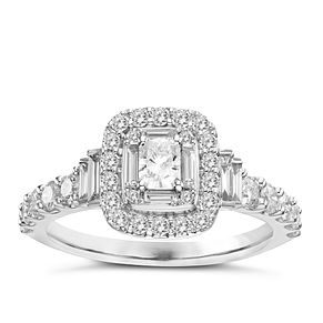 18ct White Gold 1ct Radiant Cut Diamond Ring - Product number 3574938