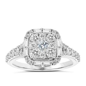 18ct White Gold 1ct Round and Baguette Diamond Halo Ring - Product number 3575225