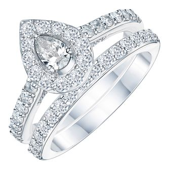 Platinum 1ct Pear Cut Diamond Bridal Set - Product number 3575454