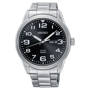 Seiko Men's Solar Black Dial Stainless Steel Bracelet Watch - Product number 3575845