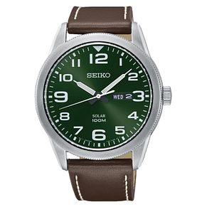 Seiko Men's Solar Green Dial Brown Leather Strap Watch - Product number 3575853