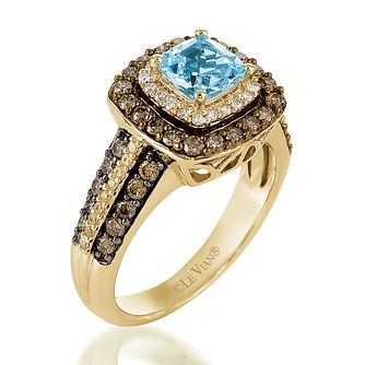 Le Vian 14ct Honey Gold Diamond Aquamarine Ring - Product number 3577252
