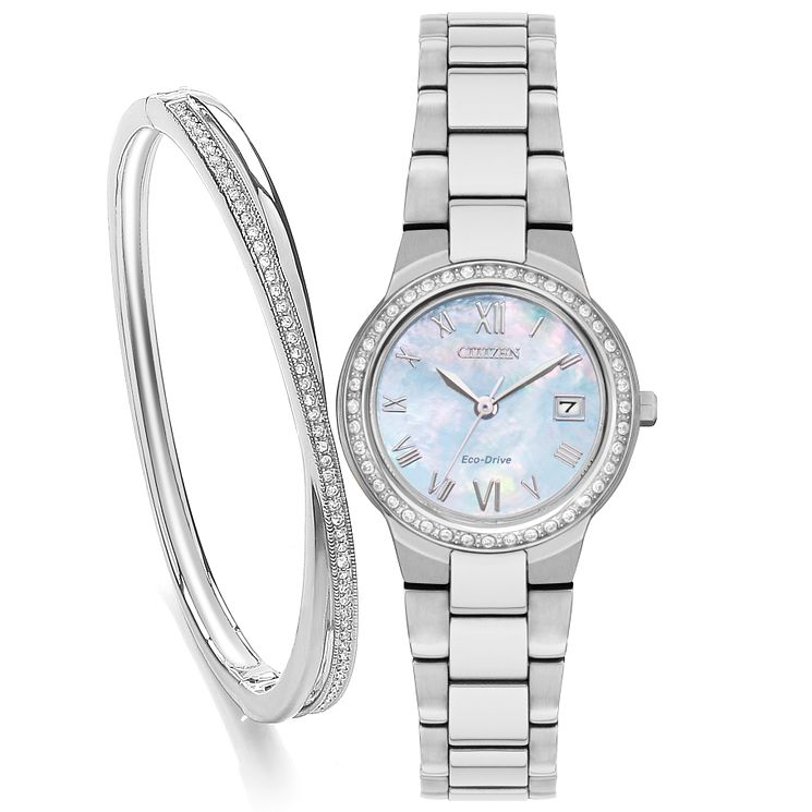 Citizen Ladies' Stainless Steel Bracelet Watch & Bangle Set - Product number 3581837