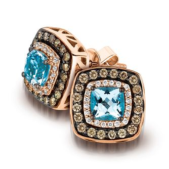Le Vian 14ct Strawberry Gold aquamarine & diamond earrings - Product number 3583899