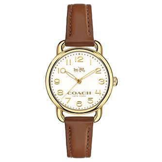 Coach ladies' gold-tone brown leather strap watch - Product number 3584437
