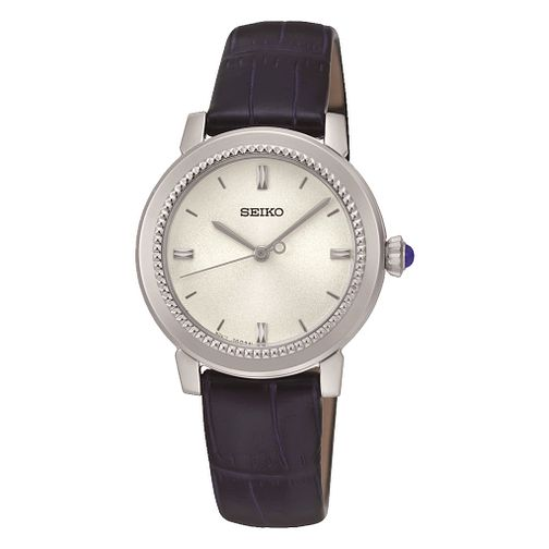 Seiko Ladies' White Dial Dark Blue Leather Strap Watch - Product number 3590089
