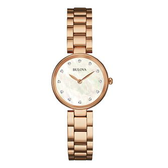 Bulova Diamond Gallery Ladies' Rose Gold Tone Bracelet Watch - Product number 3592847
