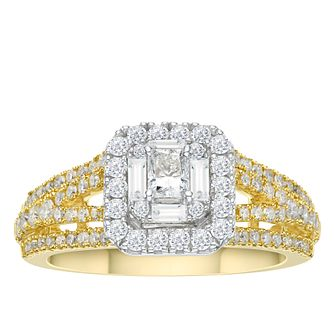 18ct Yellow Gold 1ct Radiant Cut Diamond Cushion Halo Ring - Product number 3593975