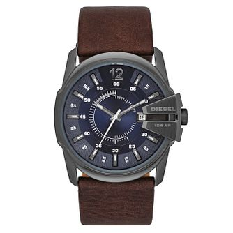 Diesel Mens Master Chief Blue Dial Brown Leather Strap Watch - Product number 3595250