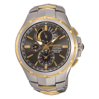 Seiko Coutura Solar Men's Two Colour Bracelet Watch - Product number 3595811