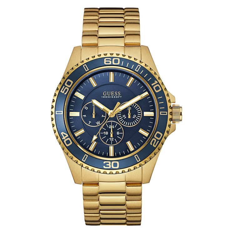 Guess Men's Navy Dial & Yellow Gold Plated Bracelet Watch - Product number 3596036