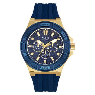 Guess Men's Navy Blue Silicone Strap Watch - Product number 3596230