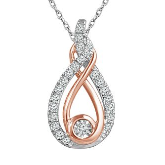 Interwoven Silver & 9ct Rose Gold 0.15ct Diamond Pendant - Product number 3603806