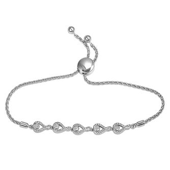 Interwoven Sterling Silver Diamond Bolo Adjustable Bracelet - Product number 3604004