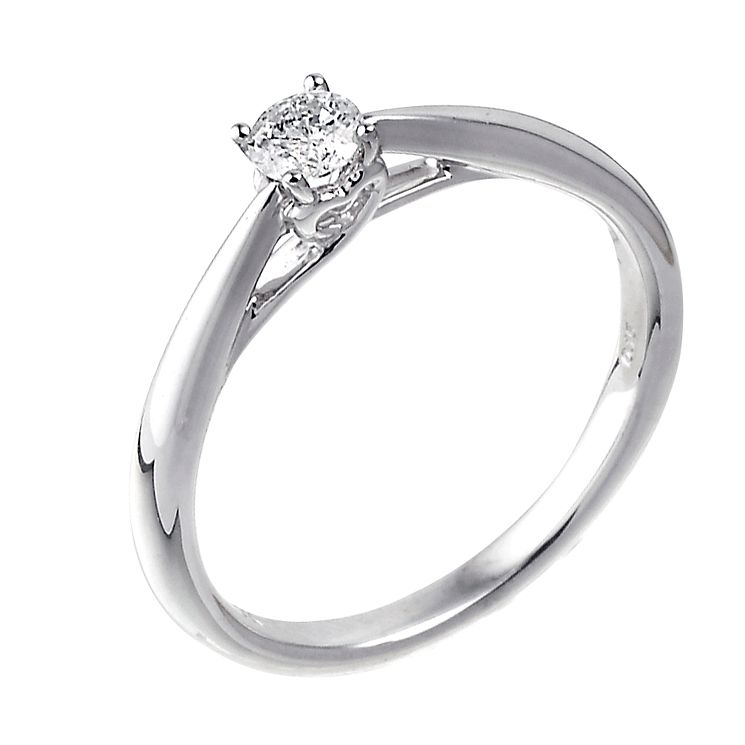9ct white gold heart set 15 point diamond solitaire ring - Product number 3608522