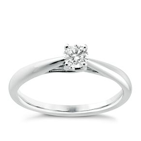 9ct white gold 1/4ct diamond ring - Product number 3608662