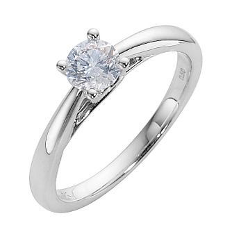 9ct white gold 1/2ct diamond solitaire ring - Product number 3609251
