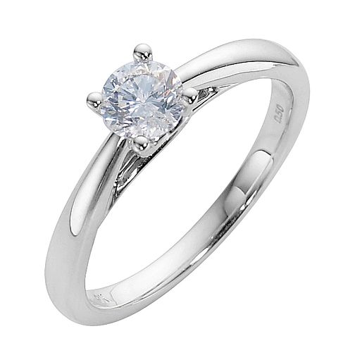 9ct white gold 0.50ct diamond solitaire ring - Product number 3609251