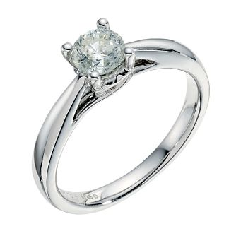 9ct white gold 0.66ct solitaire diamond ring - Product number 3609669