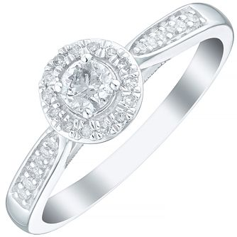 9ct White Gold 1/4 Carat Diamond Solitaire & Halo Ring - Product number 3621006