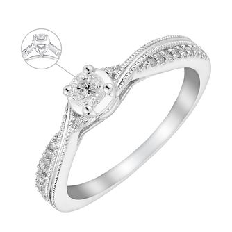 9ct White Gold Quarter Carat Crossover Diamond Ring - Product number 3622274