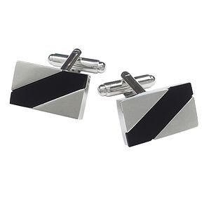 Onyx Stripe Detail Rectangular Cufflinks - Product number 3625761