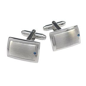 Brushed & Polished Sapphire Set Rectangular Cufflinks - Product number 3625796