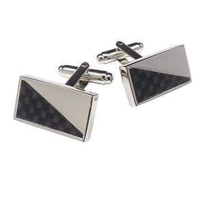 Rectangular Silver Tone Black Patterned Cufflinks - Product number 3626725