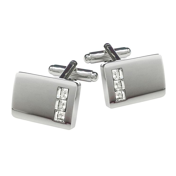 Rectangular Silver Tone Triple Crystal Cufflinks - Product number 3626881