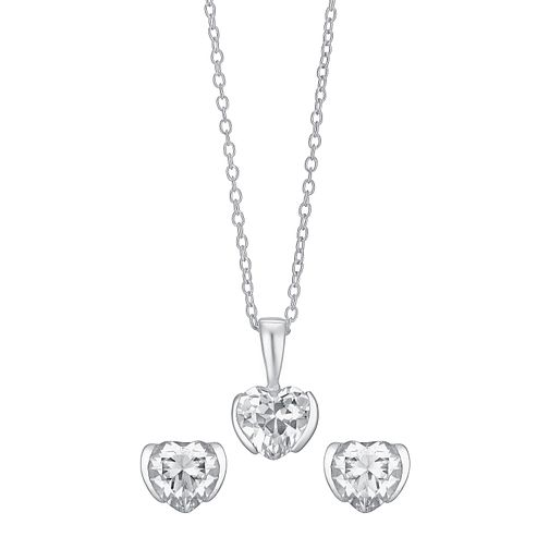 Silver & Cubic Zirconia Heart Earring & Pendant Set - Product number 3629007