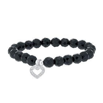 Silver Onyx & Cubic Zircona Heart Charm Beaded Bracelet - Product number 3629503