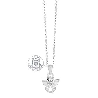 "Children's Sterling Silver Crystal Angel Pendant 14"" - Product number 3630382"