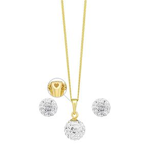 Evoke Silver & Gold-Plated Crystal Pendant & Stud Earrings - Product number 3630463