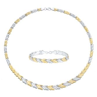 Together Silver & 9ct Bonded Gold Necklace And Bracelet Set - Product number 3630803