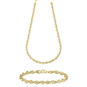 "9ct Gold 17"" Twisted Singapore Necklace & 7.5"" Bracelet Set - Product number 3631206"