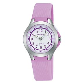 Lorus Children's White Dial Lilac Rubber Strap Watch - Product number 3631788