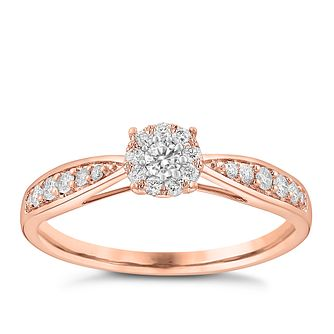 9ct Rose Gold 0.25ct Halo Cluster Diamond Ring - Product number 3632016
