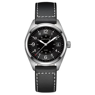 Hamilton Khaki Field men's stainless steel black strap watch - Product number 3632342
