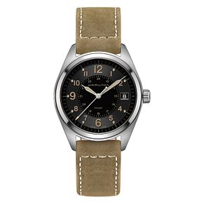 Hamilton men's stainless steel khaki black strap watch - Product number 3632474