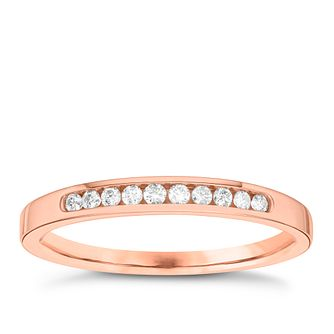 18ct Rose Gold 0.10ct Diamond 10 Stone Eternity Ring - Product number 3637948