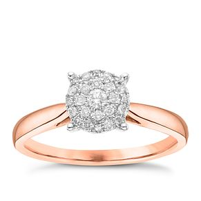 18ct Rose Gold 0.15ct Diamond Round Cluster Ring - Product number 3644251