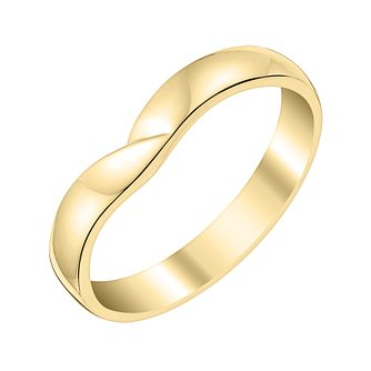 Ladies' 9ct Yellow Gold Crossover Shaped Wedding Ring - Product number 3644529