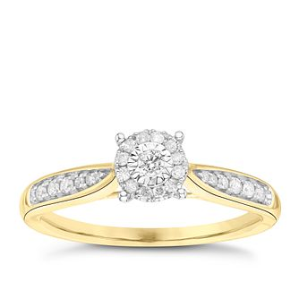 9ct Yellow Gold 0.15ct Diamond Illusion Halo Cluster Ring - Product number 3644685