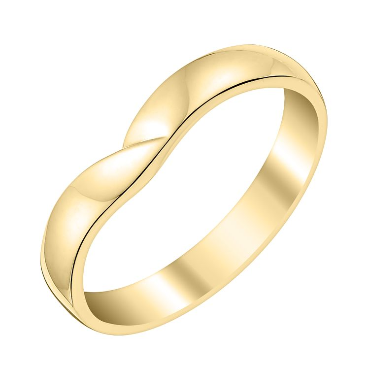 Ladies' 18ct Yellow Gold Crossover Shaped Wedding Ring - Product number 3646130