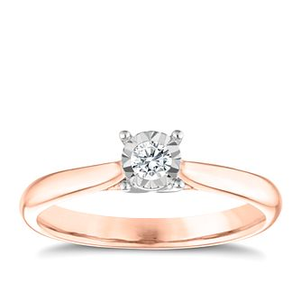 9ct Rose Gold Diamond Illusion Set Solitaire Ring - Product number 3646734